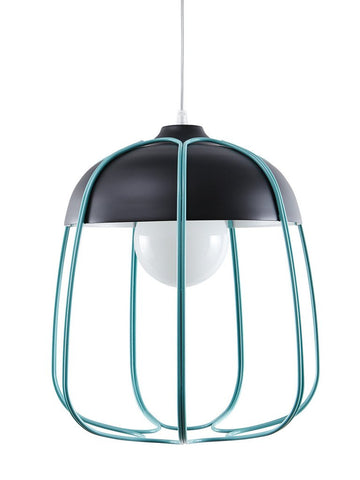 Tull Lamp Pendant In Anthracite & Turquoise