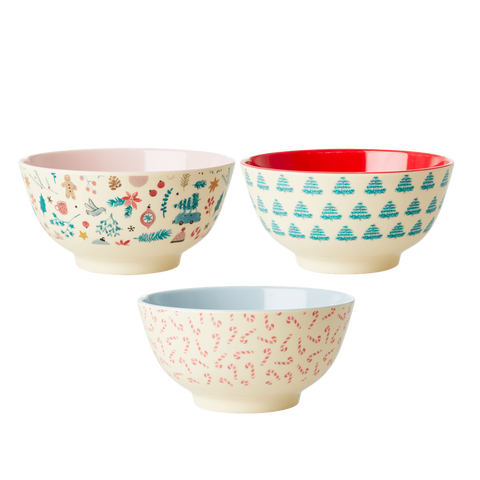 MELAMINE BOWL WITH 3 ASSORTED CHRISTMAS PRINTS