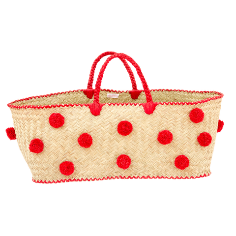 XXL BOZAKA BAG WITH RAFFIA HANDLES & POMPOMS-RED, PERSONAL, RICE, - Fabrica