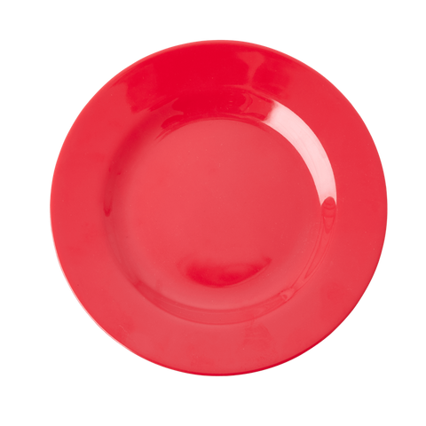 MELAMINE ROUND SIDE PLATE IN RED KISS