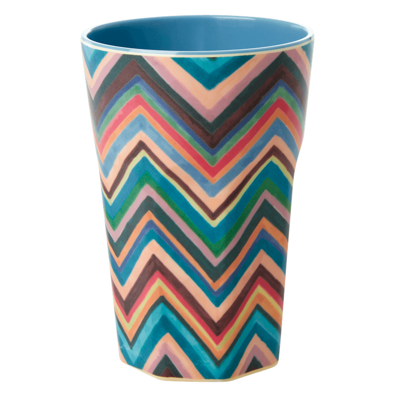 MELAMINE CUP WITH ZIG-ZAG PRINT-TWO TONE-TALL