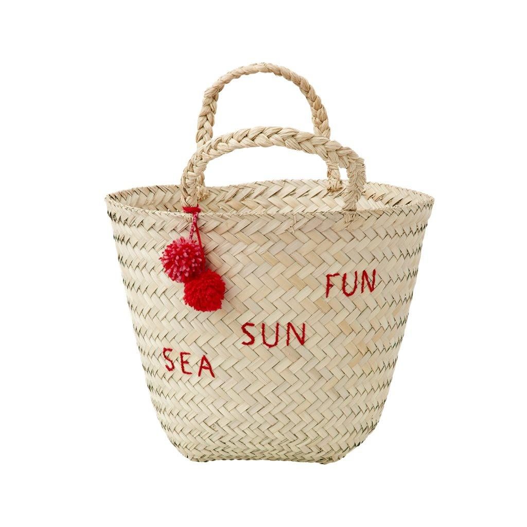 NATURAL BEACH BAG WITH EMBROIDERY AND POMPOMS