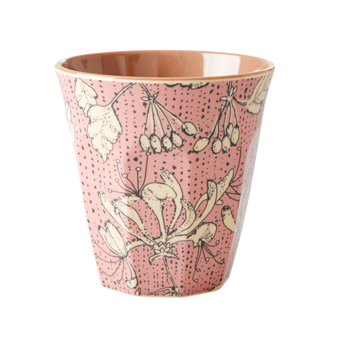 MELAMINE CUP WITH WILD CHERVIL PRINT-TWO TONE-MEDIUM