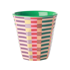 MELAMINE CUP WITH SUMMER STRIPES PRINT-TWO TONE-MEDIUM