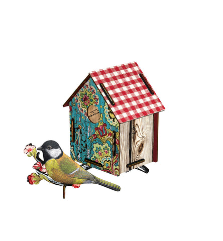 Bird House W/Bird In Fabric  Serenade, HOME DECOR, MIHO UNEXPECTED, - Fabrica