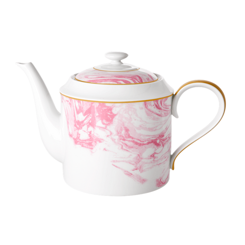 PORCELAIN TEAPOT WITH PINK MARBLE PRINT