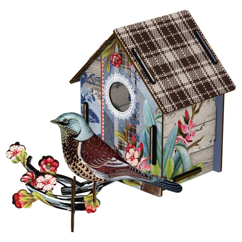 Bird House W/Bird In Fabric - I'm Back!, HOME DECOR, MIHO UNEXPECTED, - Fabrica