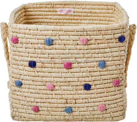 RAFFIA SQUARE BASKET WITH DOTS-SIMPLY YES COLOURS, BASIC, RICE, - Fabrica
