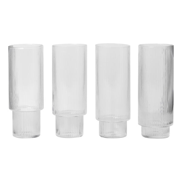 Ripple long drink glasses (set of 4), KITCHENWARE, FERM, - Fabrica