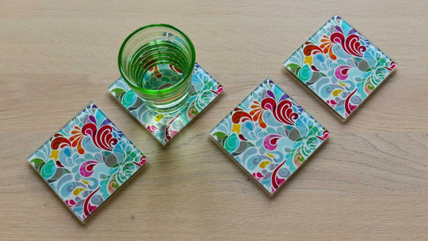 GLASS COASTER FLORINA SET OF 4
