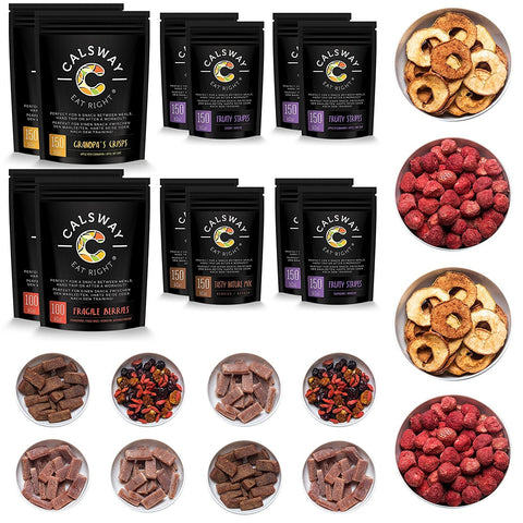 (Pack of 12) 5 A DAY Set - the Box of Assorted Fruits and Berries Vegan Snacks by Calsway