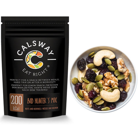 (Pack of 6) 200 Calories BAD HUNTER'S Nuts and Berries Mix by Calsway - Walnuts, Cashew Nuts, Black Raisins, Cranberries, Pumpkin Seeds