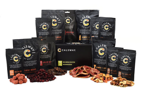 (Pack of 12) NEW ARRIVALS Selection Box of Snacks by Calsway, including Freeze Dried Berries, Apple Crisps, Beef Jerky etc.