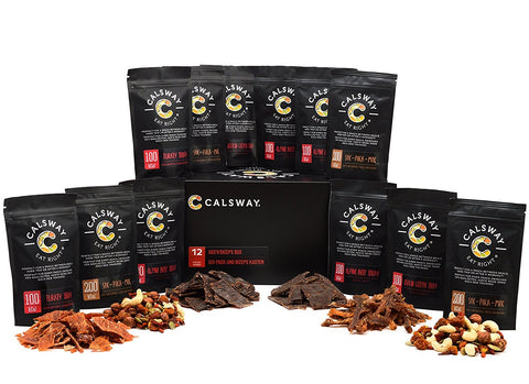 (Pack of 12) ABS'N'BICEPS High in Protein Snack Box by Calsway - Beef Jerky, Fish Jerky, Turkey Jerky, Nuts and Berries
