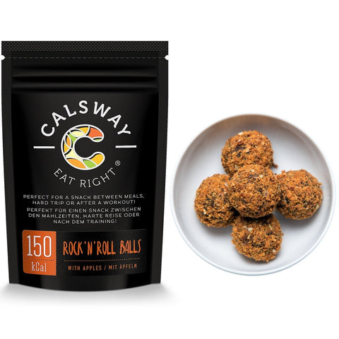 (Pack of 6) 150 Calories APPLE ROCK'N'ROLL BALLS by Calsway - Source of Energy, great for Raw and Vegan diets