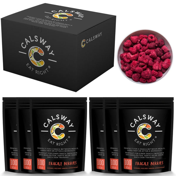 (Pack of 6) 100 Calories of FRAGILE STRAWBERRIES by Calsway - 100% Freeze Dried Whole Berries