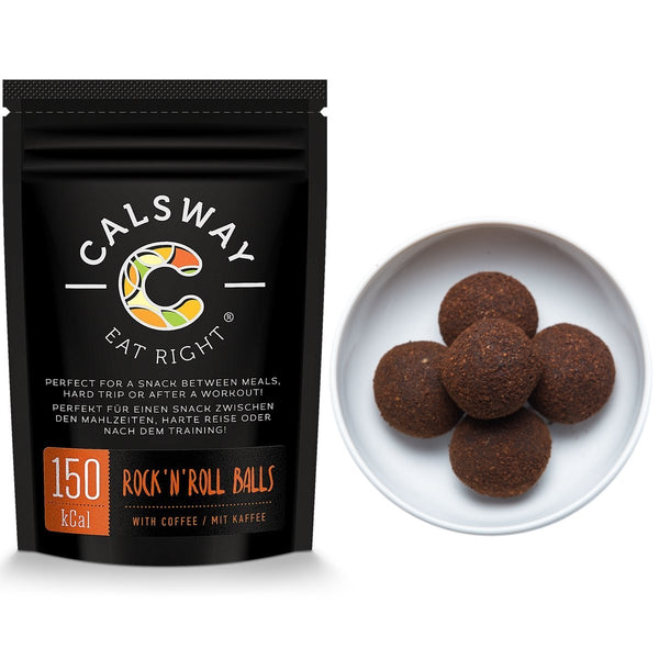 (Pack of 6) 150 Calories Coffee Rock'n'Roll balls by Calsway, Source of Energy, great for Raw and Vegan diets