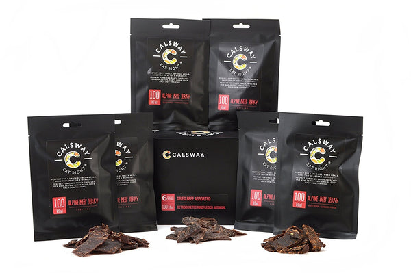 (Pack of 6) 100 Calories Assorted BEEF Jerky by Calsway
