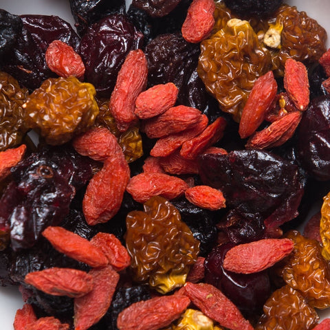 (Pack of 6) 150 Calories TASTY NATURE Dried Berries Mix by Calsway - Cranberries, Blueberries, Black Raisins, Physalis, Goji