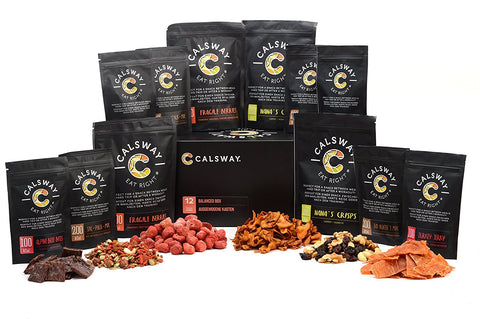 (Pack of 12) BALANCED SNACK Box by Calsway - Beef Jerky, Turkey Jerky, Nuts, Seeds, Berries