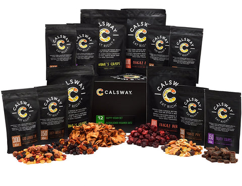 (Pack of 12) HAPPY VEGAN Classic - Box of Assorted Vegan Snacks by Calsway