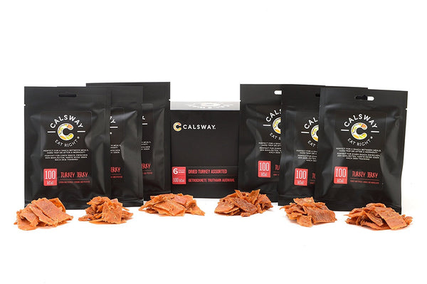 (Pack of 6) 100 Calories Assorted TURKEY Jerky by Calsway