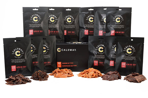 (Pack of 12) CARNIVORE Set Classic - the Box of Assorted Meat and Fish Snacks by Calsway