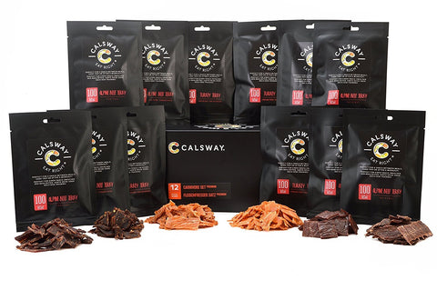 (Pack of 12) CARNIVORE Set Premium - the Box of Assorted Beef and Turkey Jerky
