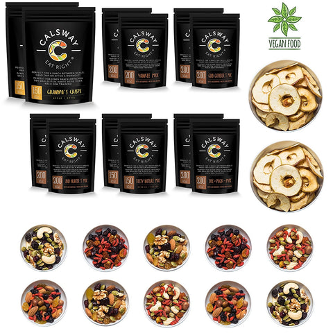 (Pack of 12) ZULU Mix - the Box of Assorted Raw and Vegan Snacks by Calsway