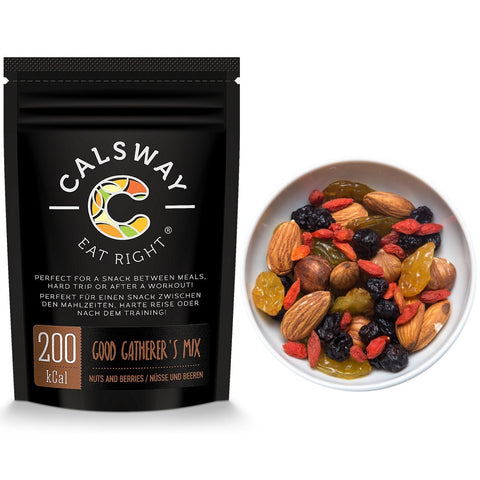 (Pack of 6) 200 Calories GOOD GATHERER'S Nuts and Berries Mix by Calsway - Almonds, Hazelnuts, Golden Jumbo Sultanas, Blueberries, Goji