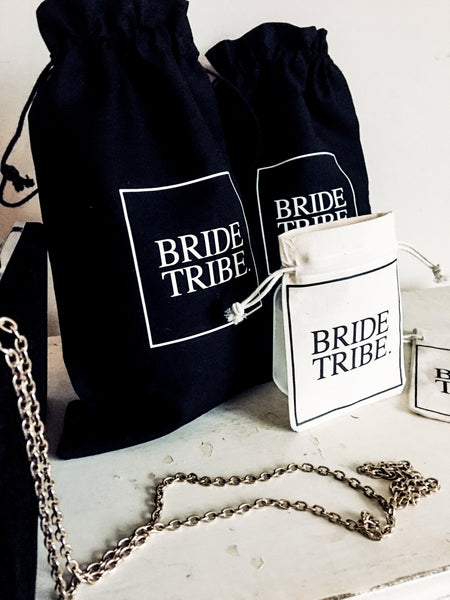 BRIDE TRIBE. 5x Pack Party Favour Drawstring Bags