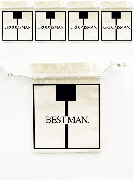 BEST MAN. GROOMSMAN. 5x Pack Party Favour Drawstring Bags