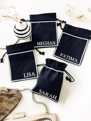 black white personalised gift bags Chanel style