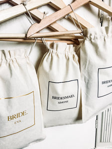 PERSONALISED BRIDESMAID. 5x Pack Party Favour Drawstring Bags