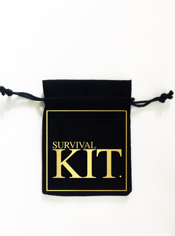 SURVIVAL KIT GOLD. 5x Pack Party Favour Drawstring Bags