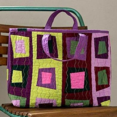 Square Dance / Parma Violet Tote by Helen Butcher