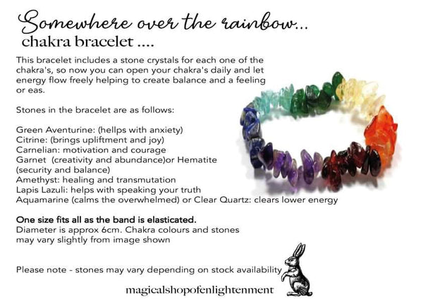 RAINBOW CHAKRA BRACELET WITH INFO CARD