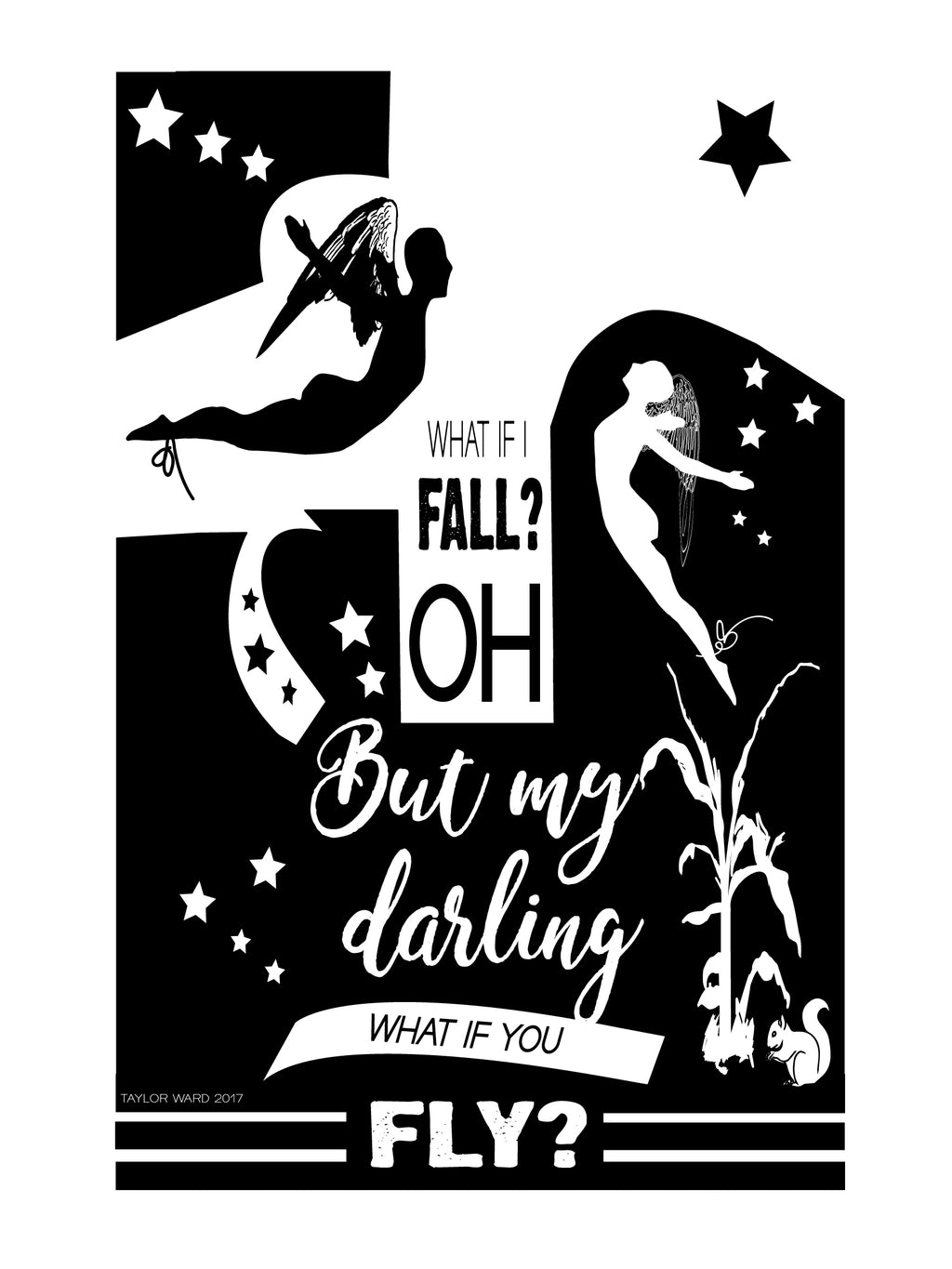 ' Darling What If you fly? Wall Art 80cm by 60 cm