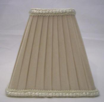 32024 - Square Beige Pleated Chandelier Clip-On Shade