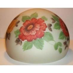 Reverse Painted Dome Shade With Poppies And Roses