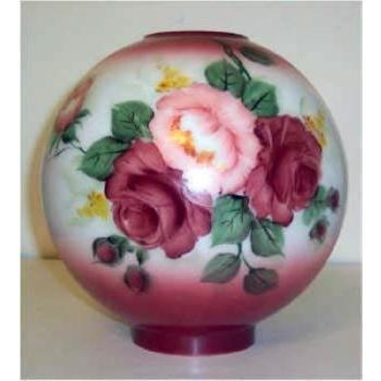 65074 - Pink Burgundy Roses With Burgundy Tint Glass Ball Lamp Shades