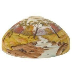 65202  Student Shade - Reverse Painted Autumn Scene Crystal Dome