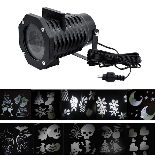 Halloween Christmas Decoration White Pattern Lens Rotating Led Lights  Projector