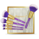 Becoyou 5pcs Professional Makeup Brush Set with Rhinestone Cosmetic Brushes Kit, Purple