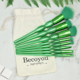 8Pcs Makeup Brushes for Foundation Contour Blush Eye Shadow Concealer Lip Eyebrow Brush, Green