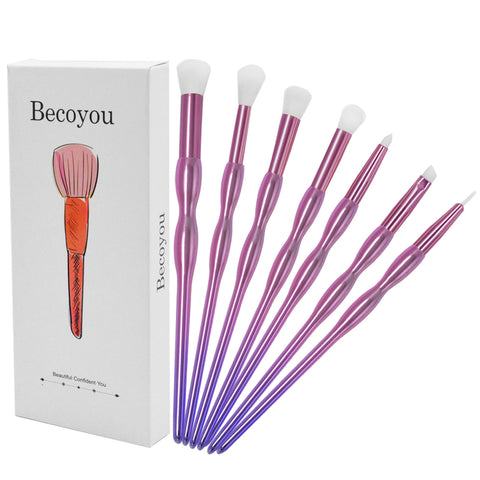 Becoyou 7Pcs Makeup Brushes Set for Exquisite Eye Smooth Makeup Application, Purple