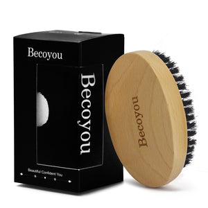 Becoyou Men Beard Brush, 100% Natural Boar Bristles  Mustache Cleaning Styling Maintenance Comb