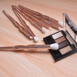 Becoyou 7Pcs Makeup Brushes Set for Exquisite Eye Smooth Makeup Application, Light rose-gold