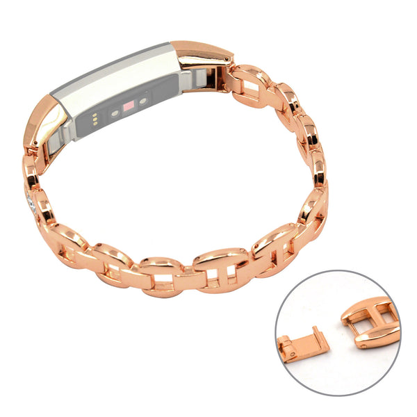 Stainless Steel Replacement Bands Watchband Bracelet Strap for Fitbit Alta HR and Alta, Rose-gold