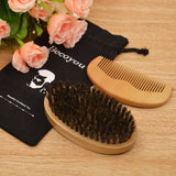 Becoyou Men Boar Bristles Beard Brush Wooden Hair Comb Kit